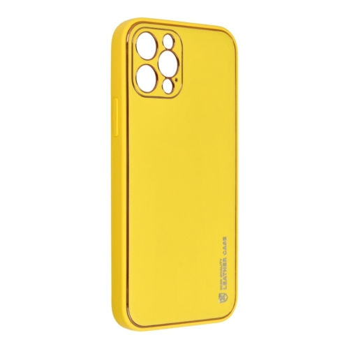 Forcell LEATHER bőr telefontok IPHONE 12 PRO yellow