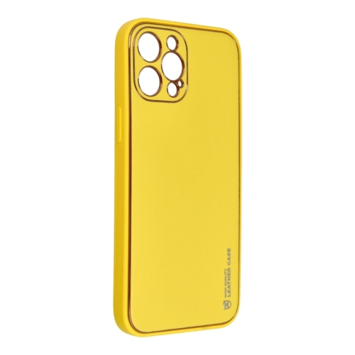 Forcell LEATHER bőr telefontok IPHONE 12 PRO MAX yellow