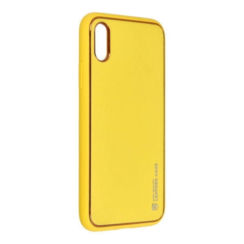 Forcell LEATHER bőr telefontok IPHONE X yellow