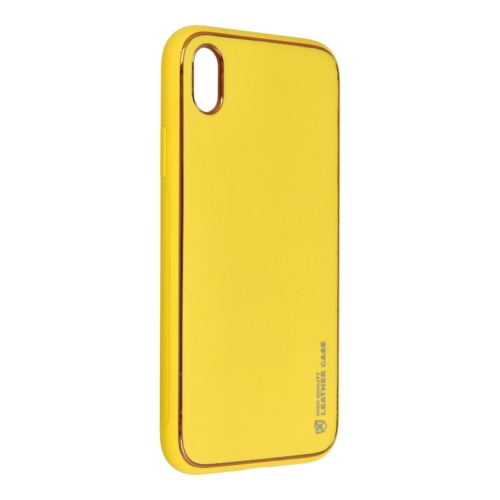 Forcell LEATHER bőr telefontok IPHONE XR yellow
