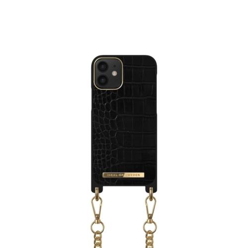 iDeal of Sweden Necklace telefontok iPhone 12 MINI Jet Black Croco